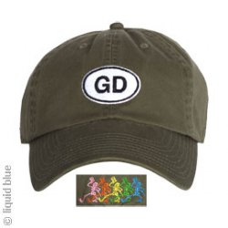 b79bfff52c99a7 Grateful Dead GD Oval Olive Adjustable Baseball Cap